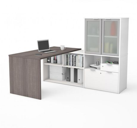 Bestar i3 plus L-Desk with Frosted Glass Door Hutch - image 1 of 3