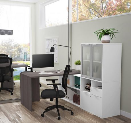 Bestar i3 plus L-Desk with Frosted Glass Door Hutch - image 2 of 3