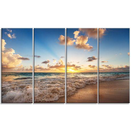 Design Art Sunrise on Beach of Caribbean Sea Large Seashore Canvas Artwork Print - image 2 of 3