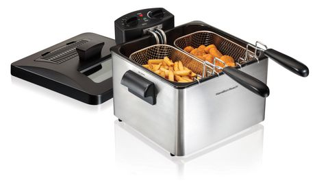 Black and silver double deep fryer from Hamilton Beach