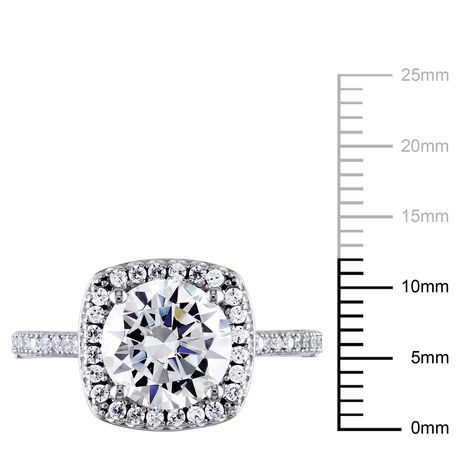 Miabella 5 Carat T.G.W. Cubic Zirconia Sterling Silver Halo Engagement Ring - image 3 of 5