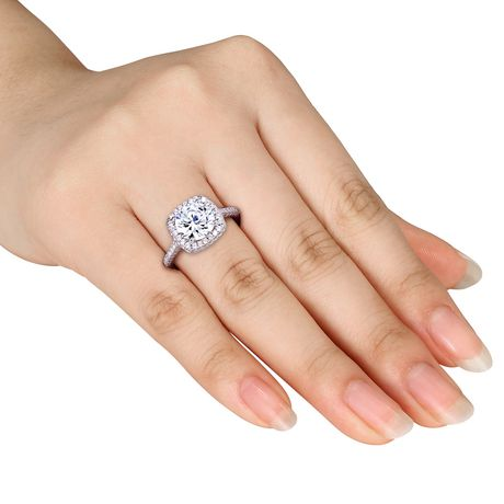 Miabella 5 Carat T.G.W. Cubic Zirconia Sterling Silver Halo Engagement Ring - image 4 of 5