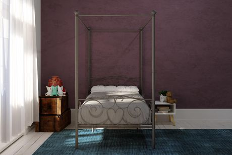 lit baldaquin une place en argent de dhp. Black Bedroom Furniture Sets. Home Design Ideas
