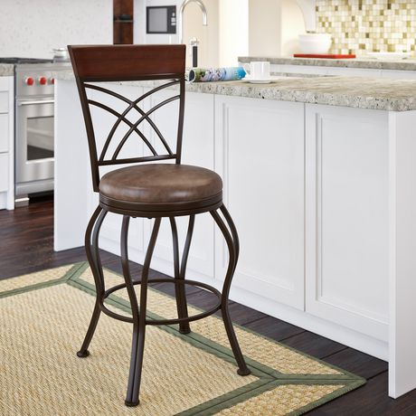 Corliving Jericho Metal Counter Height Barstool With