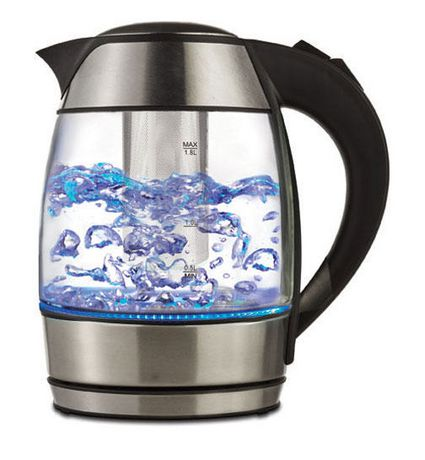 Stainless steel and glass electric tea kettle with black handle, made by Brentwood