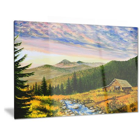 Design Art Sunset in Mountains Landscape Metal Wall Art - image 1 of 1