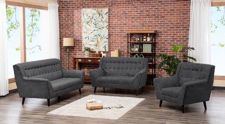 Topline Home Furnishings 3pc Grey Sofa Set