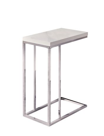 metal accent table. Monarch Specialties Inc Glossy White/Chrome Metal Accent Table