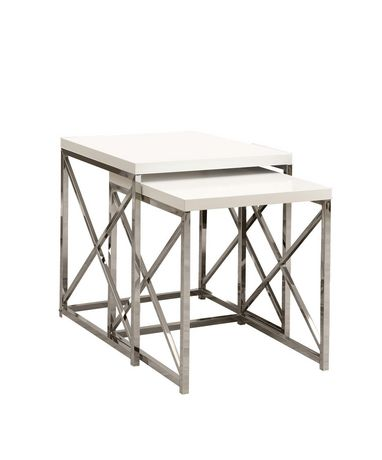 Monarch Specialties 2 Piece Glossy White Nesting Table Set