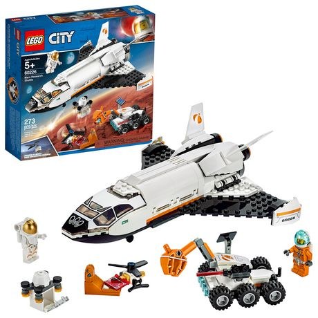 Boxed set from LEGO containing 273 pieces that can be assembled into a research shuttle, Mars rover and helidrone