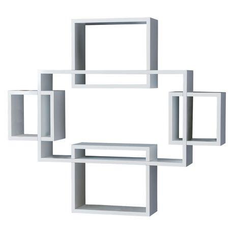 Hometrends 5 Piece Interlocking White Wall Shelf Walmart