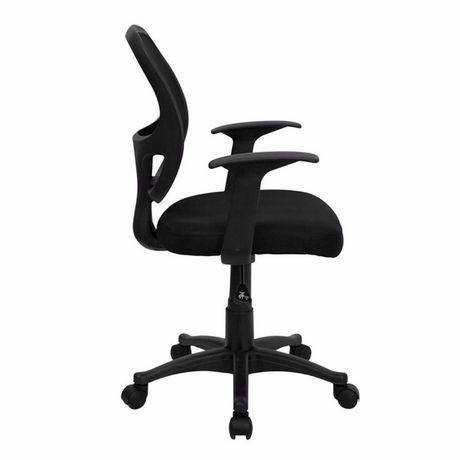 Chaise de bureau avec accoudoir Nicer Furniture à dossier moyen en maille noire - image 2 de 5
