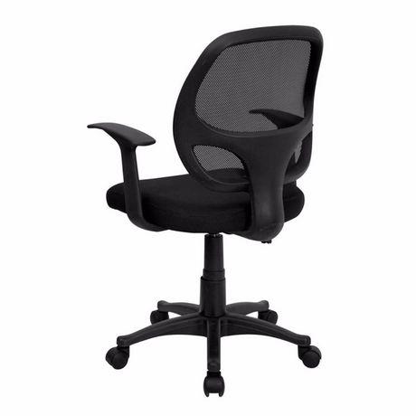 Chaise de bureau avec accoudoir Nicer Furniture à dossier moyen en maille noire - image 3 de 5