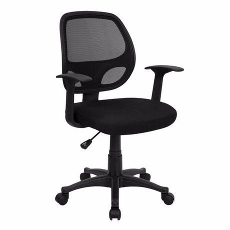 Chaise de bureau avec accoudoir Nicer Furniture à dossier moyen en maille noire - image 4 de 5