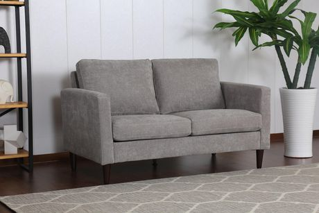 Topline Home Furnishings Grey Pillow Back Love Seat - image 1 of 3