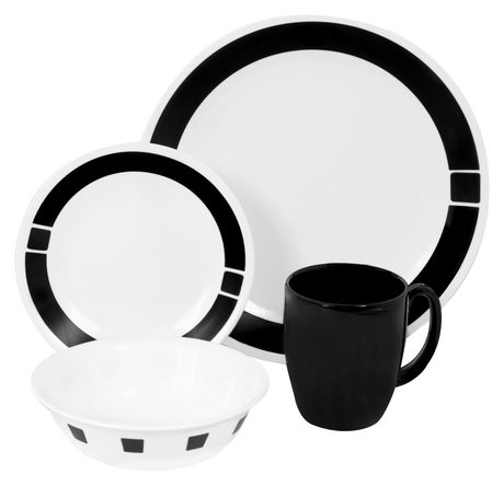Corelle 174 Urban Black Dinnerware Set 16pc Walmart Canada