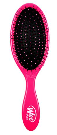 Pink plastic hairbrush with black bristles made by Wet Brush
