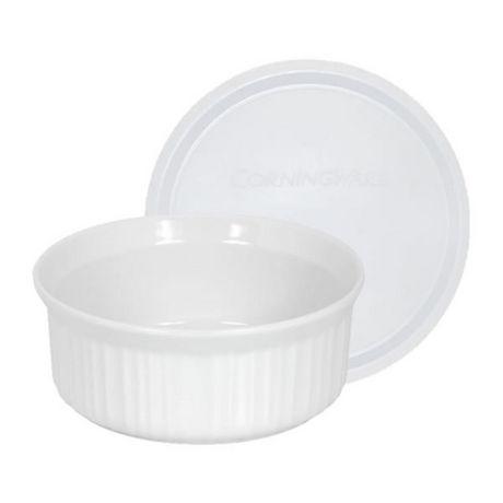 Corningware French White® 24 Oz Round Dish with Plastic Cover - image 1 of 1
