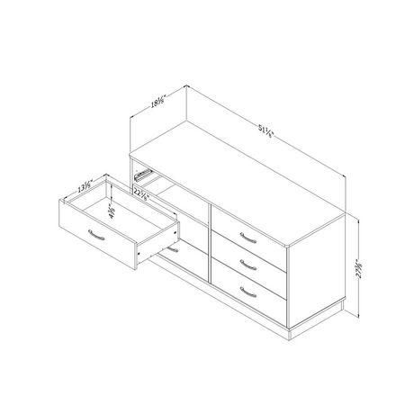 Bureau double 6 tiroirs Logik, Pin Country de Meubles South Shore - image 5 de 7