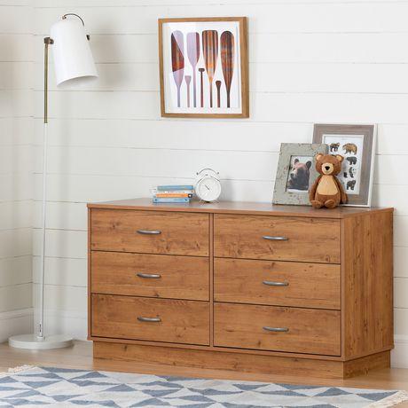 Bureau double 6 tiroirs Logik, Pin Country de Meubles South Shore - image 1 de 7