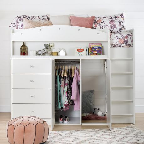 South Shore Tiara White Twin Loft Bed With Desk 39
