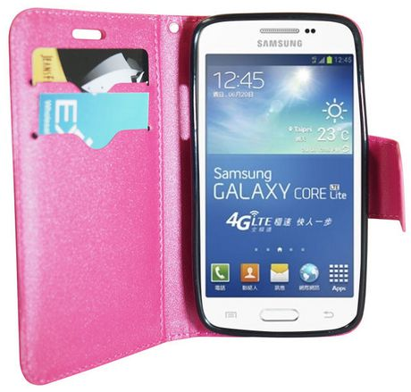 big sale ee7e4 dc875 Exian Leather Wallet Case for Samsung Galaxy Core LTE - Pink