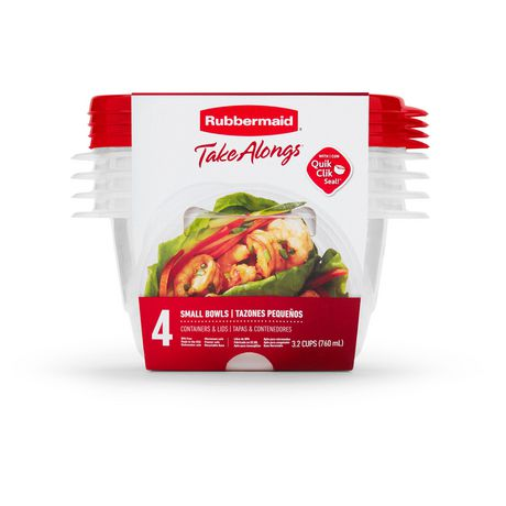 Rubbermaid TakeAlongs Food Storage Containers, 3.2 Cups, Deep Squares, 4 Pack, Tint Chili - image 1 of 7