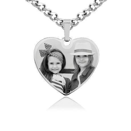 PhotosEngraved - Personnaliser! Gravez votre photo sur un pendentif cœur en argent sterling - SHSL - image 1 de 5