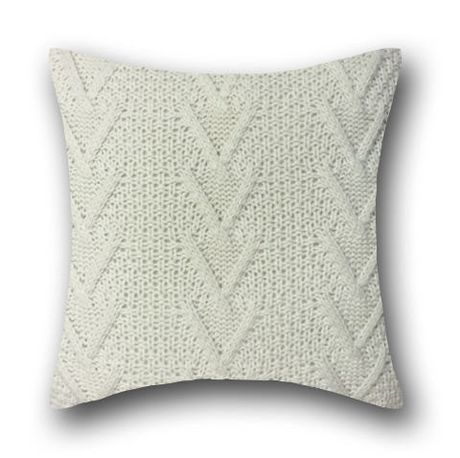 Cable Knit White Decorative Cushion - image 1 of 1