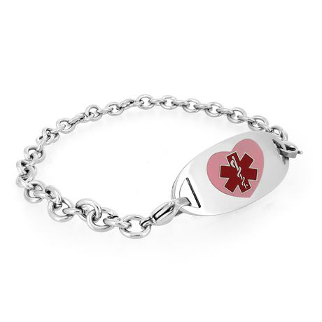 MedicEngraved - Womens 316L Surgical Stainless Steel Medical Id Bracelet  with Pink Heart Enamel Medical Tag