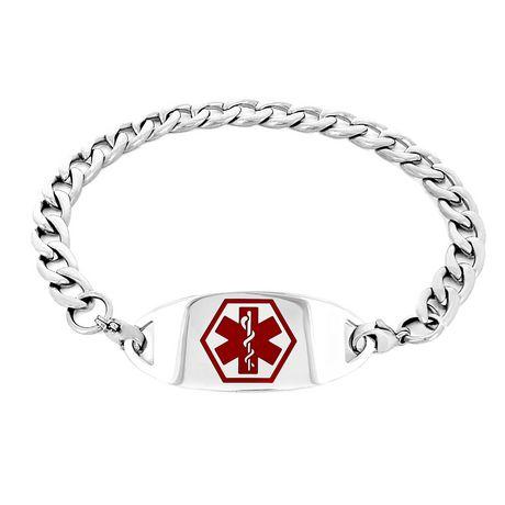 MedicEngraved - Bracelet d'identité médicale de acier inoxydable 316 l  des femmes avec étiquette médicale - image 2 de 3