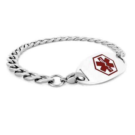 MedicEngraved - Bracelet d'identité médicale de acier inoxydable 316 l  des femmes avec étiquette médicale - image 1 de 3