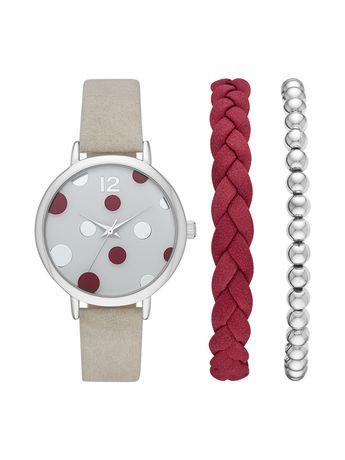 Ensemble montre et bracelets femme à la mode teinte argentée - image 1 de 1
