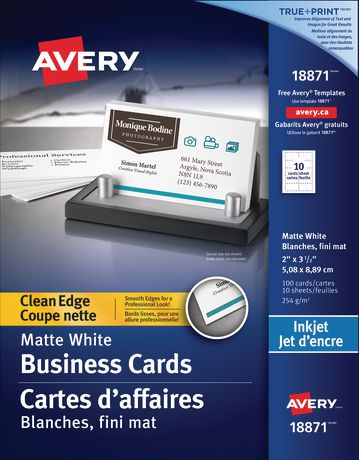 Avery clean edge business cards for inkjet walmart canada reheart