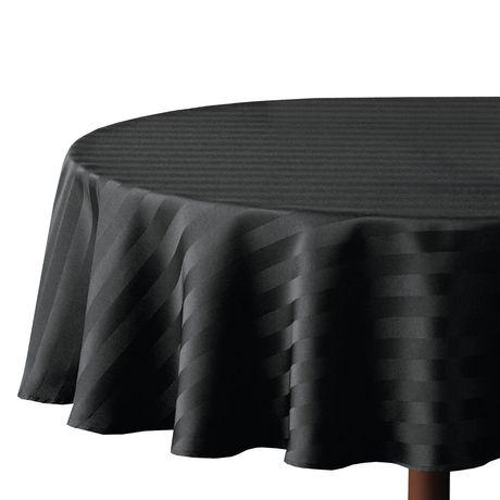 Astounding Hometrends Round Microfiber Stripe Tablecloth Beutiful Home Inspiration Xortanetmahrainfo