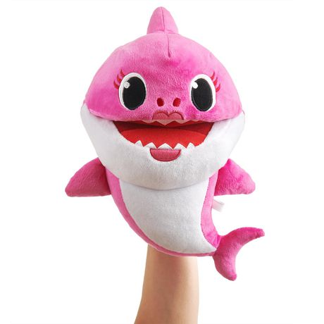 Pink and white stuffed mommy shark puppet from Pinkfong that sings the Baby Shark song