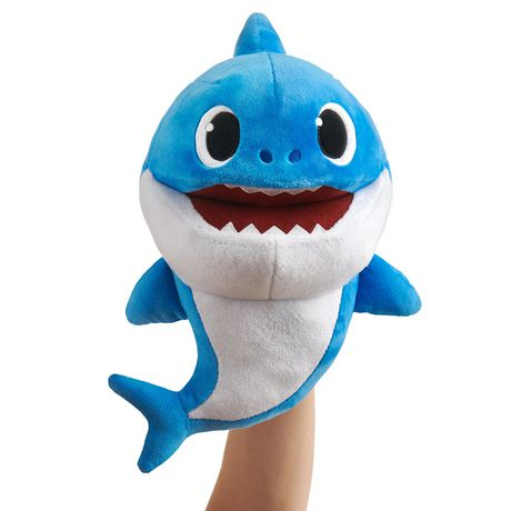 Blue Daddy Shark hand puppet that sings the Baby Shark song