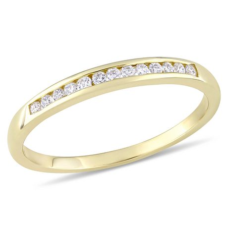 Miabella 1/8 Carat T.W. Diamond 10 K Yellow Gold Semi-Eternity Ring - image 1 of 5