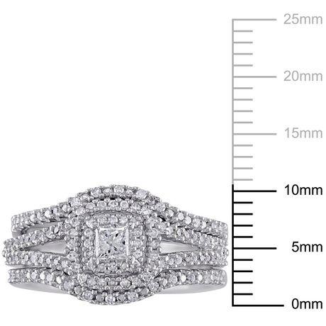 Ensemble nuptial auréole 3-pièces Miabella avec diamants ronds et de coupe princesse 1/2 CT poids total en argent sterling - image 3 de 5