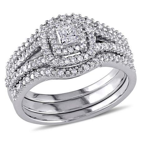 Ensemble nuptial auréole 3-pièces Miabella avec diamants ronds et de coupe princesse 1/2 CT poids total en argent sterling - image 1 de 5