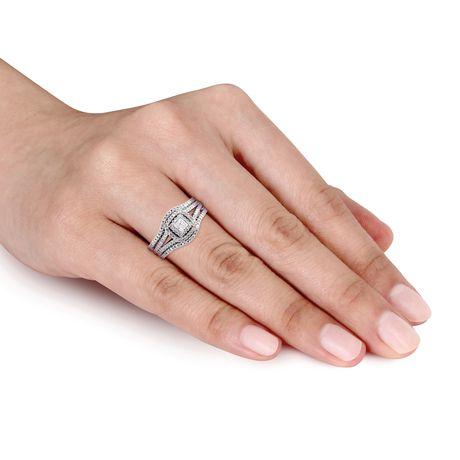Ensemble nuptial auréole 3-pièces Miabella avec diamants ronds et de coupe princesse 1/2 CT poids total en argent sterling - image 4 de 5