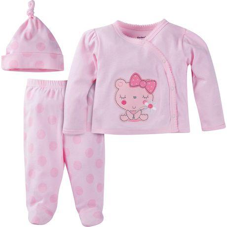 Gerber Chidrenswear Newborn Girls 3 Piece Take Me Home