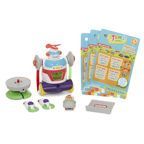 Multi-coloured builder bot robot toy with challenge cards, made by Little Tikes