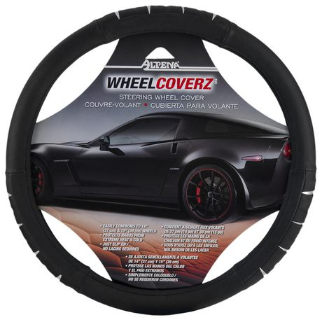 Alpena Black/Chrome Steering Wheel Cover - image 1 of 4