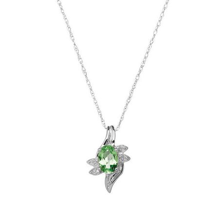 10 Karat white gold May Birthstone Pendant-7/5 oval Lab Created Emerald and Diamond. - image 1 of 1