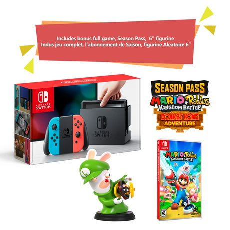 "Nintendo Switch Console Bundle with Mario + Rabbids Kingdom Battle and 6"" Luigi Figure - Anniversary Edition (Neon Joy Cons) - image 1 of 1"