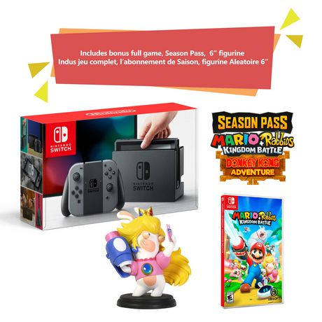 "Nintendo Switch Console Bundle with Mario + Rabbids Kingdom Battle and 6"" Princess Peach Figure - Anniversary Edition (Grey Joy Cons) - image 1 of 1"