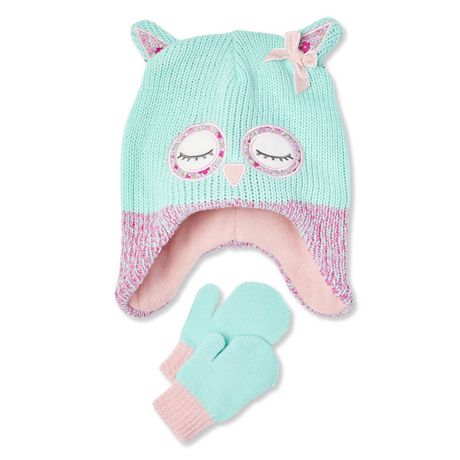 George Toddler Girls  Owl Hat and Glove Set  593c54df77a