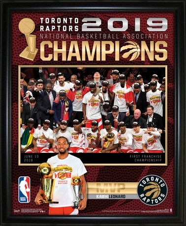 Framed collage picture showing the Toronto Raptors team and Kawhi Leonard holding the NBA championship trophy