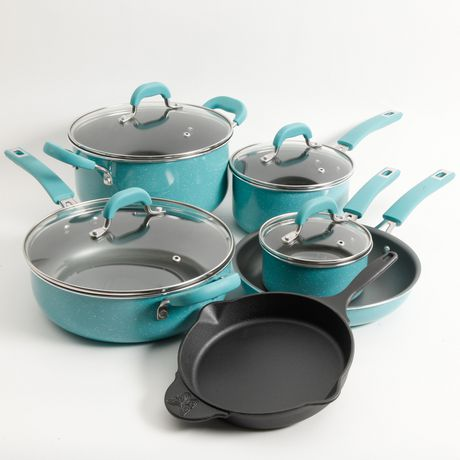 The Pioneer Woman Vintage Speckle 10 Piece Non Stick Pre Seasoned Cookware Set by The Pioneer Woman